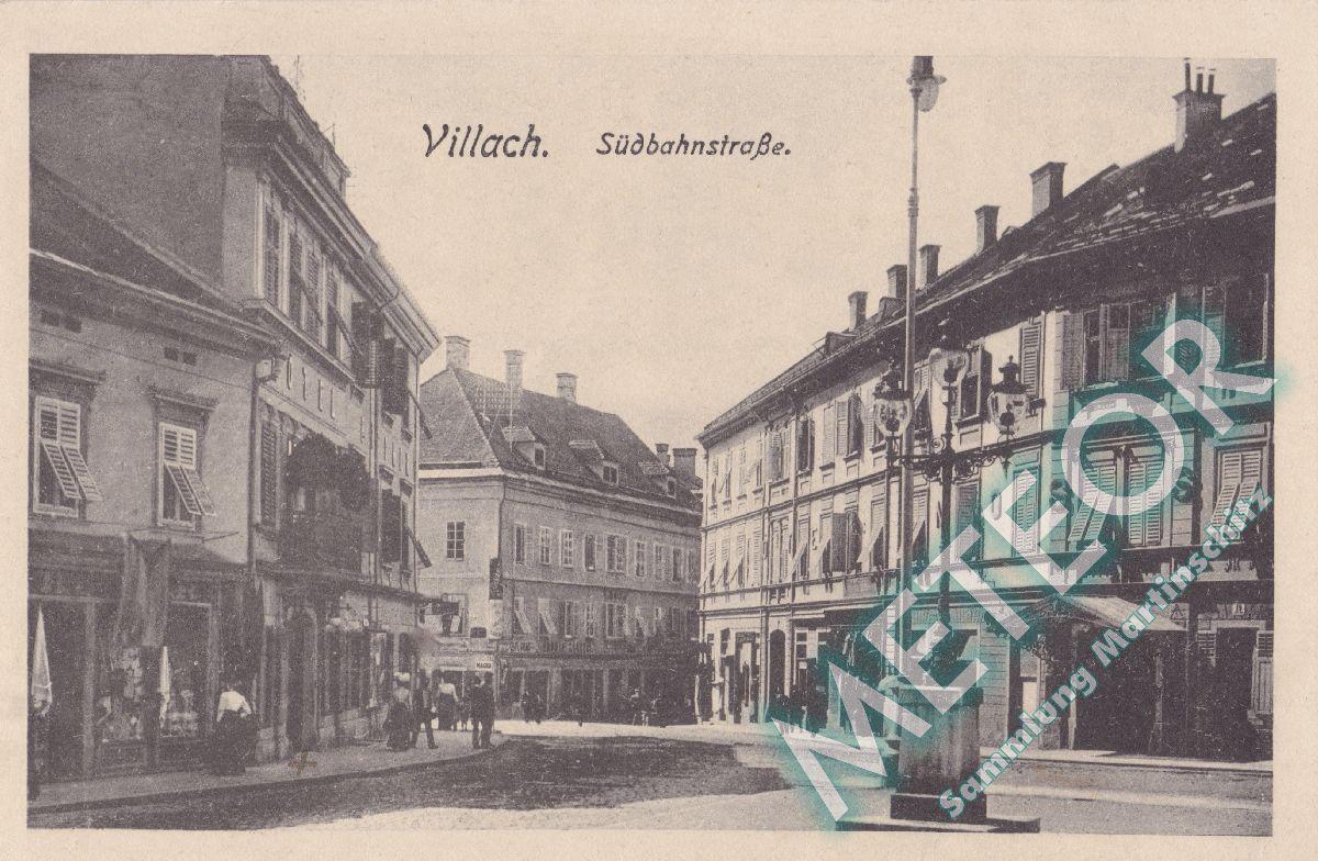 1918 - Villach, Suedbahnstraße mit Hotel Mosser - Verlagsanstalt Bogensberger, Villach - Nr. 1027